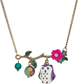 Betsey Johnson - Purple and Gold Owl Pendant Necklace