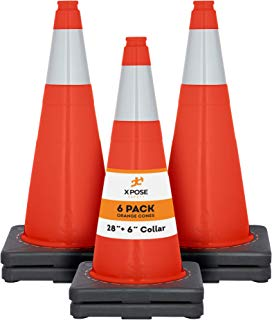 "Xpose Safety 28 Inch Orange Traffic Cones with 6"" Collar - Multipurpose PVC Plastic Safety Cone for Parking, Soccer, Caution, Kids and Construction"