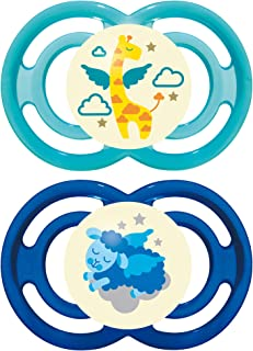 MAM Perfect Night Pacifiers, Glow in the Dark Pacifiers (2 pack), MAM Pacifiers 16 Plus Months, Best Pacifier for Breastfed Babies, Baby Boy Pacifier, Blue