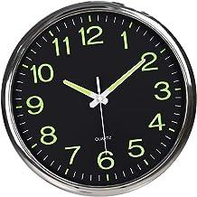 prasku Night Light Wall Clock, Luminous Numerals & Hands Glow in Dark, Silent Battery Operated Analog Wall Clock for Livin...