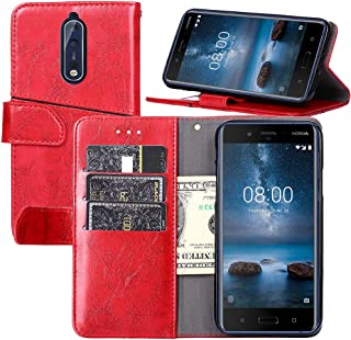 Nokia 8 Case,Nokia 8 Wallet Case,YEEGG Wallet Case for Nokia 8 [Stand Feature] Protective PU Leather Flip Cover with Credit Cards Slot,Side Cash Pocket and Magnetic Clasp Closure (Red)
