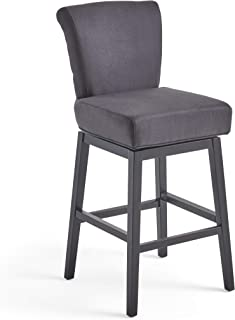 Christopher Knight Home Tristan Fabric Swivel Barstool (Dark Charcoal)