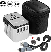 CleverTrips Universal Travel Power Adapter All in One Worldwide International Wall Charger AC Plug Adaptor with 5.6A Smart Power USB and 3.0A USB Type-C For USA EU UK AUS Phone Tablet Laptop (Silver)