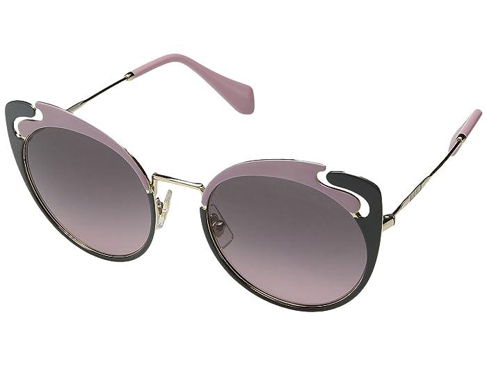 Miu Miu 0MU 57TS (Pale Gold/Alabaster/Grey/Pink Gradient/Grey) Fashion Sunglasses