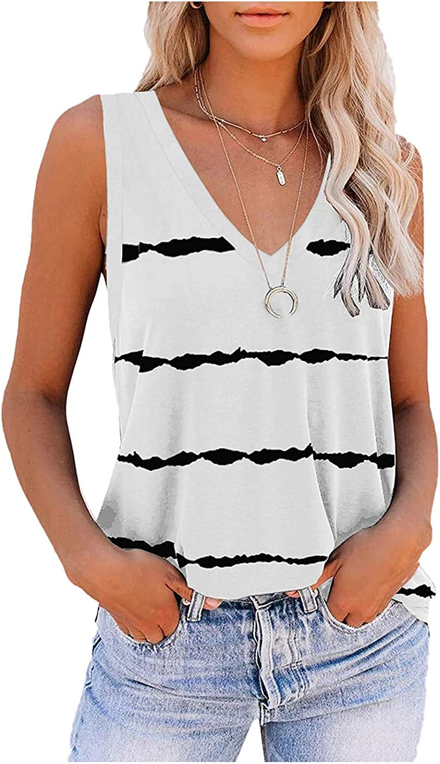 Summer Tops for Women Trendy,Women Tank Tops Womens Cute Printed Vest Tshirt Sleeveless Workout Blouse Casual Summer Tank Top Tunic Tee White