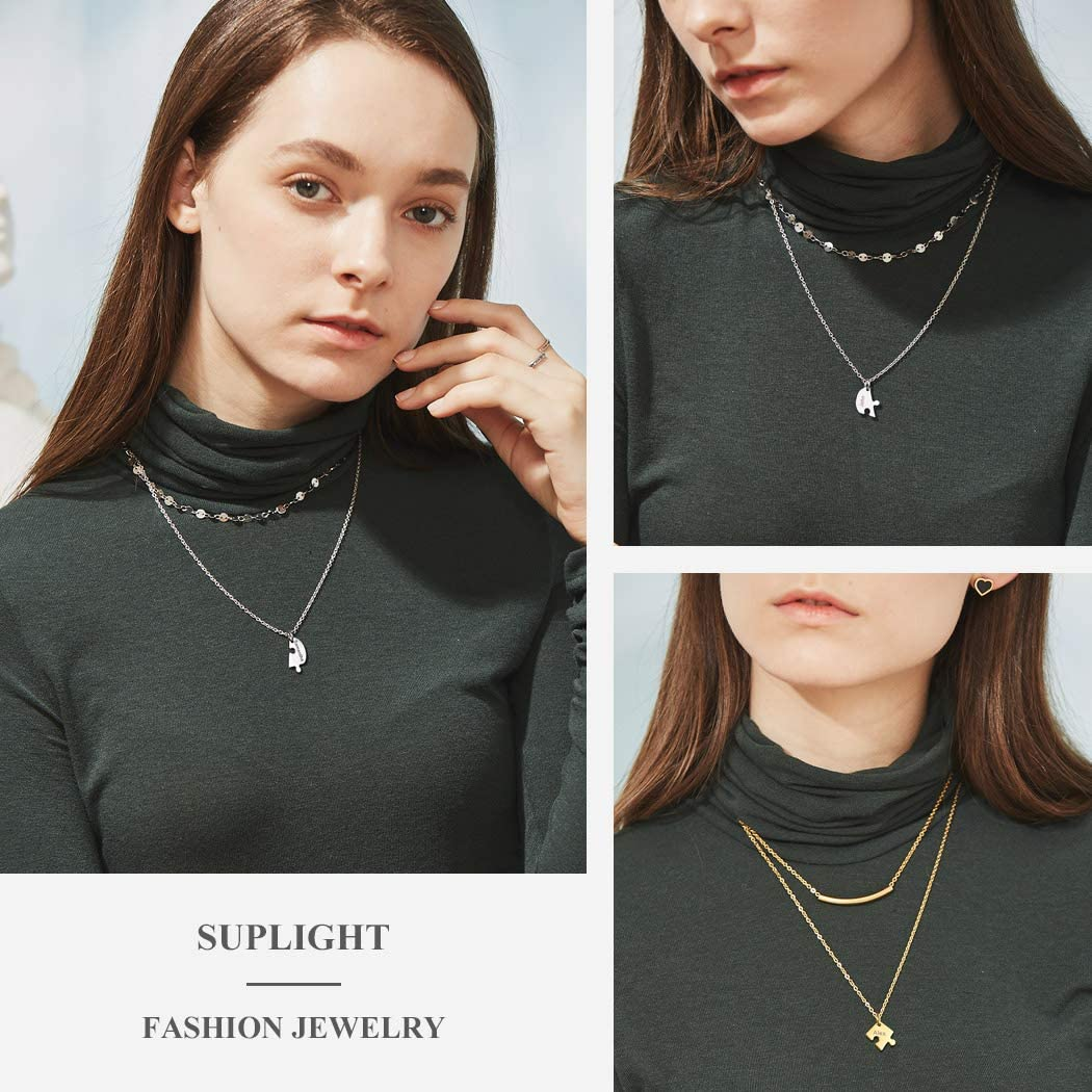 Free Engraving Stainless Steel 18k Gold Plated Family Love Friendship Hearts Pendants with Chain-2//3//4//5//6 Pieces Suplight Personalized BFF Best Friends Couple Puzzle Necklace