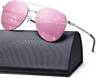 AVAWAY Classic Sunglasses for Women Men Nylon Mirrored Lens Ultra Lightweight Metal Frames