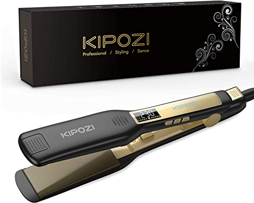 KIPOZI Piastra Capelli Professionale, Piastra Larga in Titanio con Display Digitale LCD, Adatta a Tutti i Tipi di Cap...