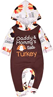 YOUNGER TREE Newborn Baby Boys Girls Thanksgiving Outfit Turkey Romper Long Sleeve Hoodie Jumpsuits 0-18 Months