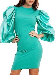 Toocool - Vestito Donna Mini Abito Maniche Palloncino Raso Elegante Sera JL-6084