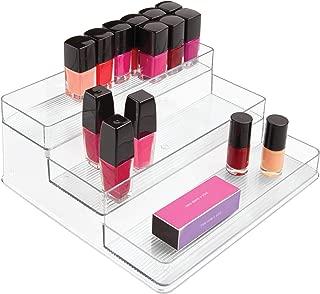 iDesign Linus Plastic Stadium Rack, 3-Tier Organizer for Bathroom Countertop, Vanity, Kitchen, Office, Craft Room, 10.25
