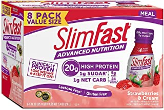 Slimfast Advanced Nutrition Strawberries & Cream Shakes - Ready to Drink Meal Replacement - 20g Protein - 11 fl. oz. Bottle - 8 Count