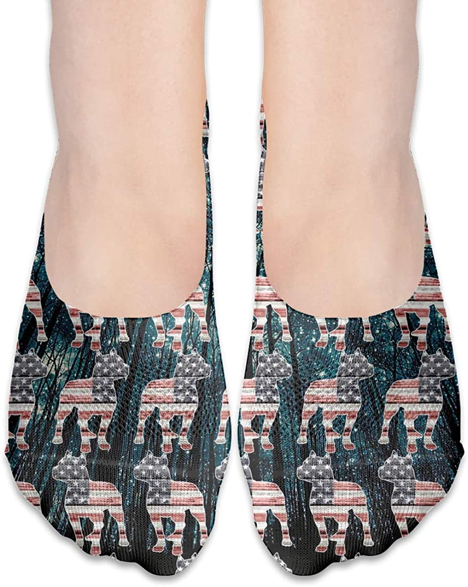 No Show Socks Women Men For Patriotic Pitbull American Flag Galaxy Flats Cotton Ultra Low Cut Liner Socks Non Slip