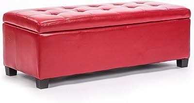 La Bella Storage Ottoman Leather - Red