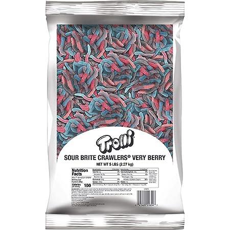 Trolli Sour Brite Crawlers Very Berry Gummy Worms, 5 Pound Bulk Candy Bag