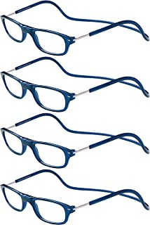 TBOC Gafas de Lectura Presbicia Vista Cansada – [Pack 4 Unidades] Montura Azul Graduadas +2.00 Dioptrías Hombre Mujer Regulables Plegables Imantadas Lentes Aumento Leer Ver Cerca Cuello Imán