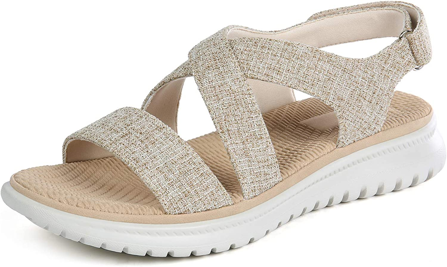 Lazzy Womens Wedge Sandals Faux Raleigh sold out Mall Comfortable Sanda Leather Sports