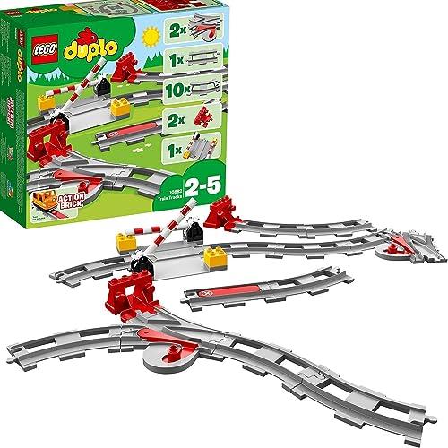 LEGO 10882 Duplo Town Les Rails du Train Jeu de Construction, Circuit avec Brique d'action Rouge pour Enfants de 2 - ...
