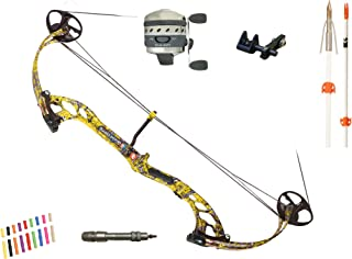 PSE Archery, Mudd Dawg Bowfishing Bow with Muzzy Kit Package, Yellow, Right Hand, 40#
