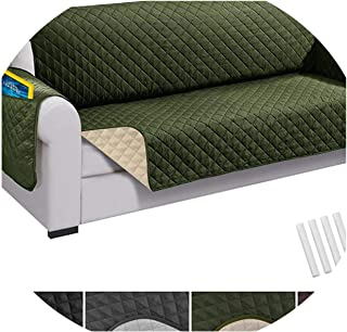 Recliner Sofa Couch Cover Pet Dog Kids Mat Protector Sofa Cover Waterproof Quilted Reversible Sofa Covers for Living Room,Army Green,Chair (58x193cm),China