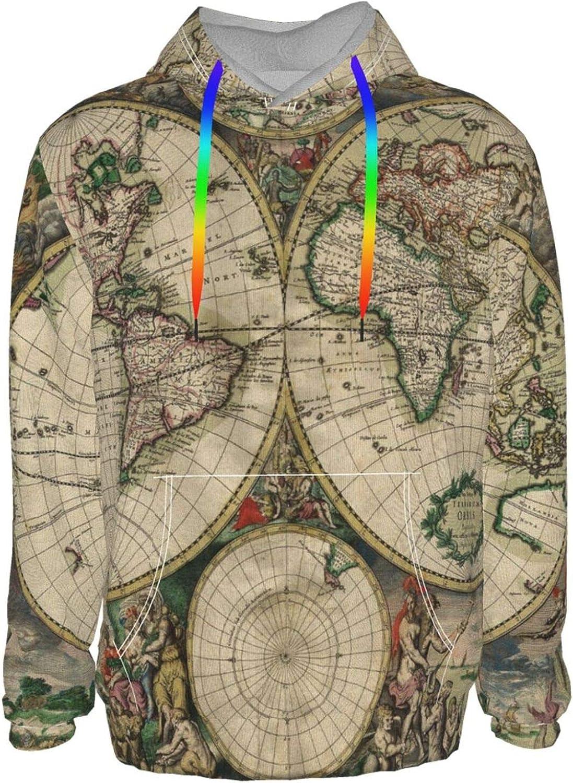 Nicokee Mens Pullover Hoodie Vintage 1 year depot warranty Old Lou Map Globe World Art