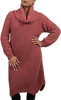 e3487c3116 Primtex Robe Pull Laine col roulé en Grosse Maille pour Femme-