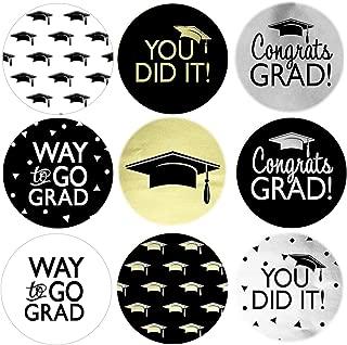 Graduation Party Favor Labels - Congrats Grad Black, Silver, Gold - 270 Stickers