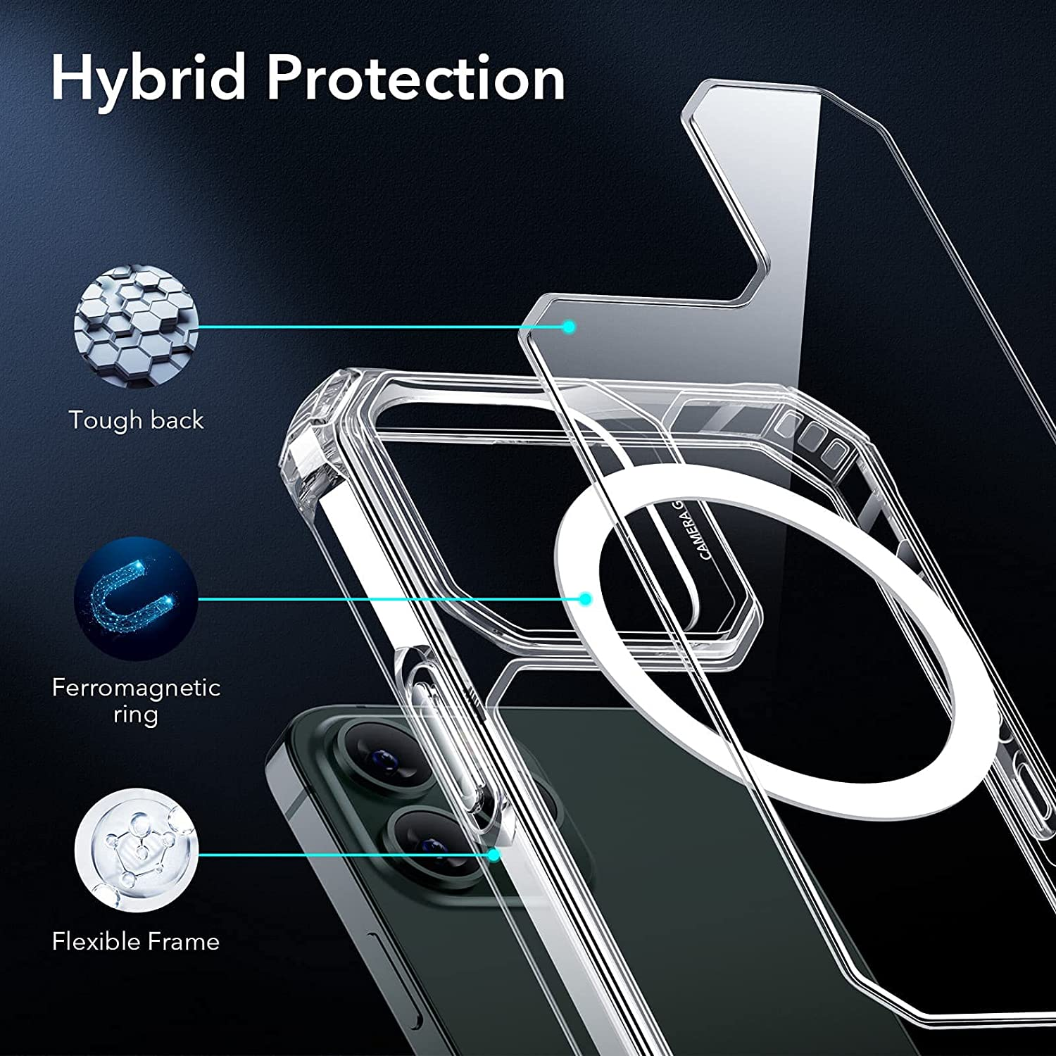 ESR Air Armor Clear Case with HaloLock Compatible with iPhone 13 Pro Case, Military-Grade Protection, Supports Magnetic Charging, Yellowing-Resistant Hard Back, Clear