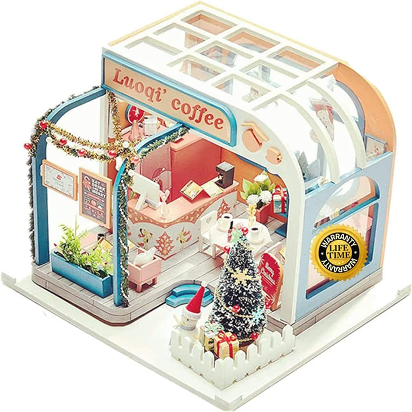 ZIXUAAB Miniature DIY House Kit Wooden Gi Discount is also underway Recommended Cafe Christmas