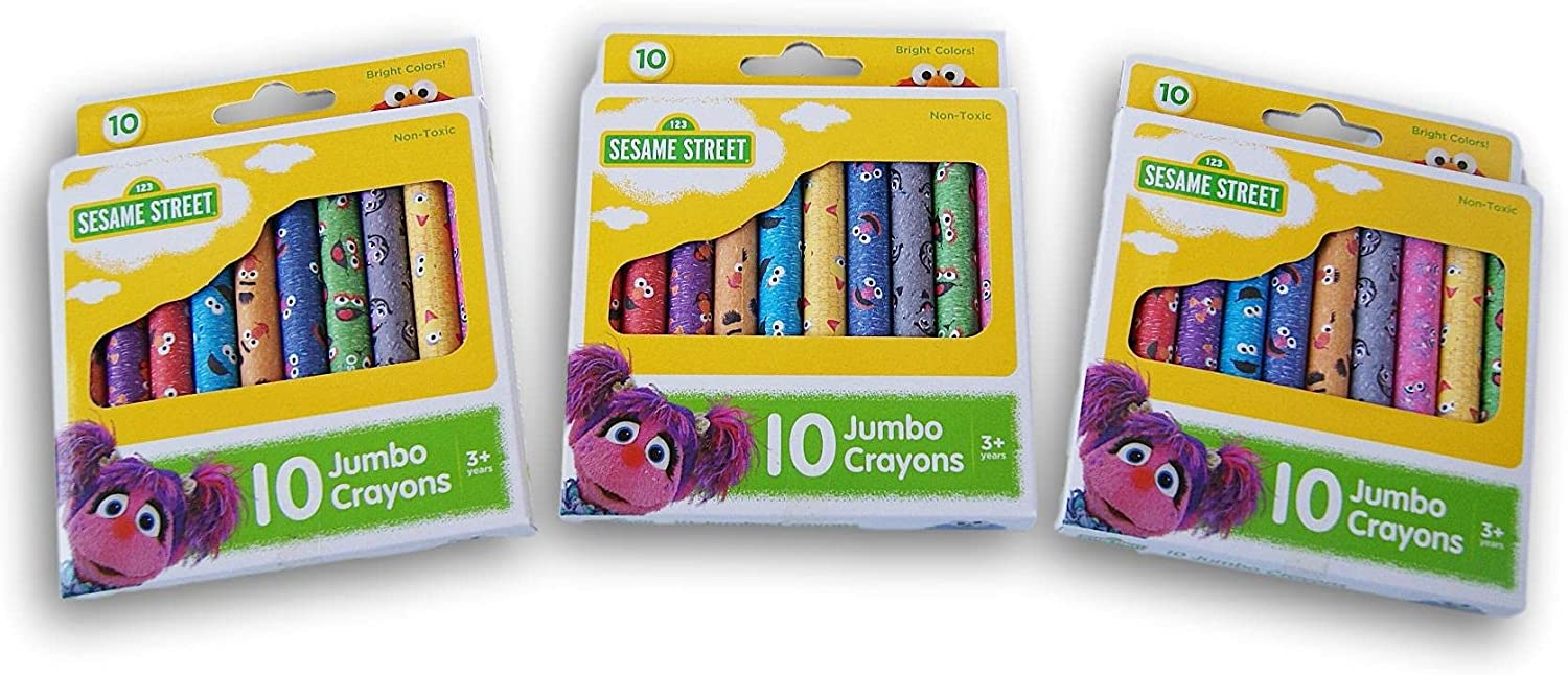 Kids Crafts Big Bird and Elmo Crayons - Brightly Jumbo 30 In a Max 80% OFF popularity Themed