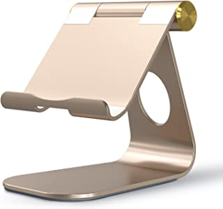 OMOTON Adjustable Tablet Stand Compatible with iPad, Tablets (Up to 12.9 inch) and All Cell Phones, Stable Sticky Base, Gold