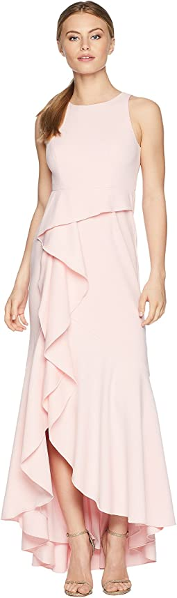 Petite Sleeveless Long Knit Crepe Gown with Cascade Skirt Detail