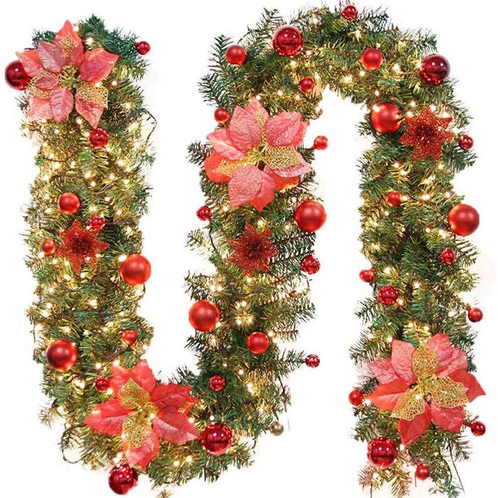 Premier Décoration De Noël 2.7 Mètre de Flocon de Neige Guirlande De Perles-Blanc