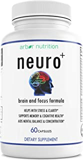 Arbor Nutrition Neuro Plus Memory and Focus Formula - Boost Focus, Improve Brain Health, Energy & Mood Booster for Men and...