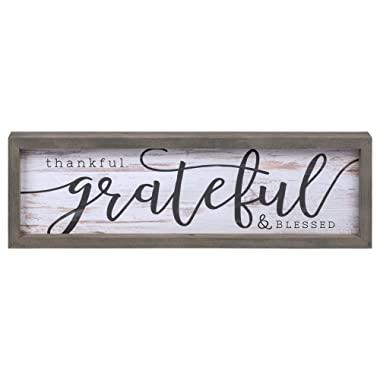 P. Graham Dunn Thankful Grateful Blessed Grey White 24.6 x 7.8 Inch Solid Pine Wood Farmhouse Frame Wall Plaque