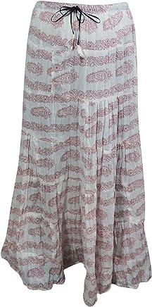 Mogul Interior Maxi Skirt Cotton White Printed A-Line Bohemian Flirty Festive Skirts