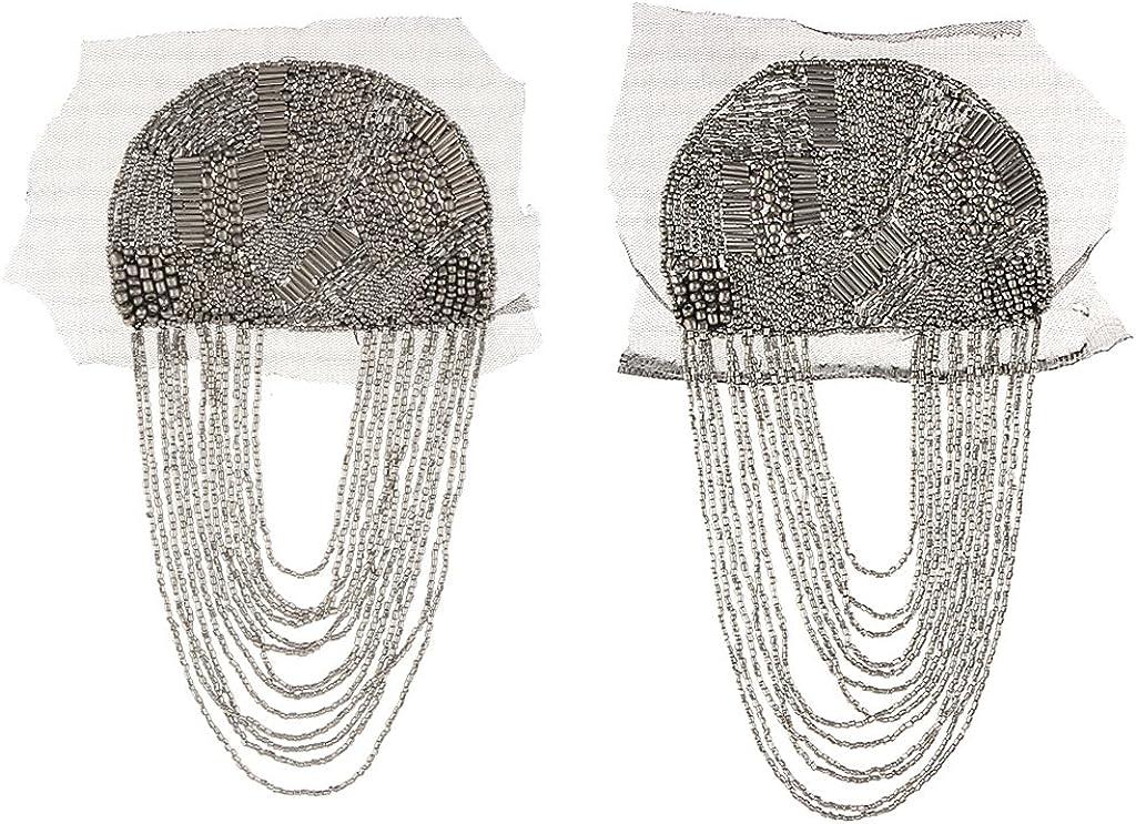 Bonarty Elegant Tassel Epaulette Shoulder Mark Brooch Badge Black Clothing Jewelry