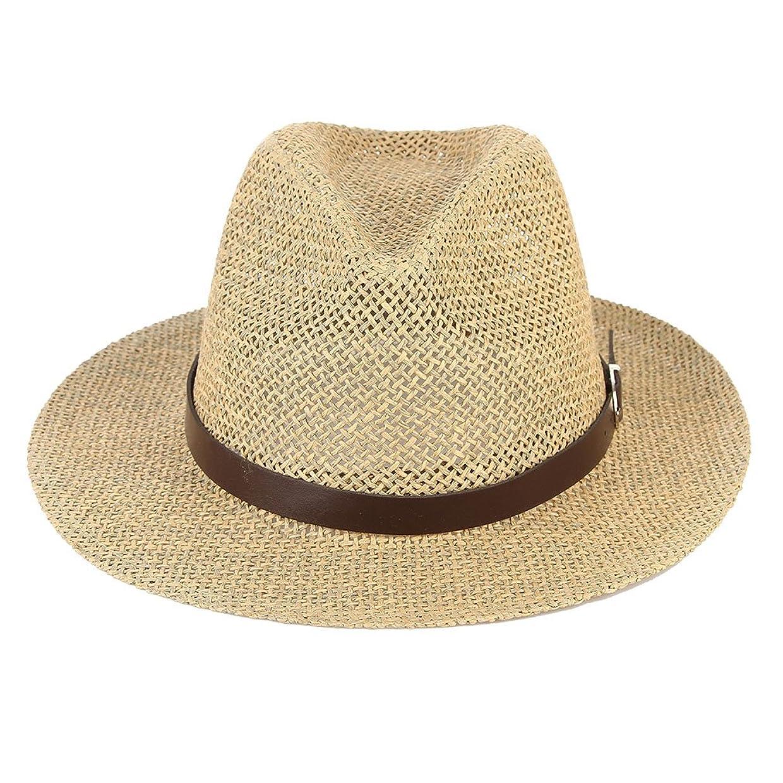 精査するアパートにやにやC-Princess 中折れ帽子 ストローハット 麦わら帽子 紳士帽 メンズ レディース UV対策 日焼け防止 通気 ベルト飾り おしゃれ レトロ ジャズ アウトドア