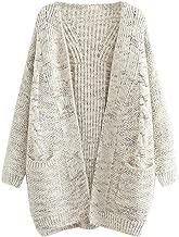 FUTURINO Women's Cable Twist School Wear Boyfriend Pocket Open Front Cardigan Popcorn Sweaters