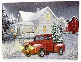 BANBERRY DESIGNS Red Truck Decor - LED Lighted Christmas Print with Vintage Red Truck and Xmas Tree - Winter Scene Canvas Wall Art