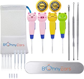 Ear Wax Removal Tool with Led Light for Kids - Toddlers, Infants, Baby and Adult by BonnyEars | Stainless Steel Earwax Remover Kit | Ear Pick Spoon Curette Tweezers Cleaning