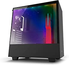 NZXT H500i Black and Red Mid Tower PC Case with 2 AER F Fans, Tempered Glass Side Panel, 2 USB 3.0 Ports, 2 RGB Strips and CAM Smart Device, Supports ATX, MicroATX and Mini-ITX Motherboards