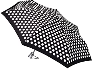 Totes auto open 自动关闭紧凑伞 采用NeverWet 技术 黑色和白色圆点 109.22 cm 弧线