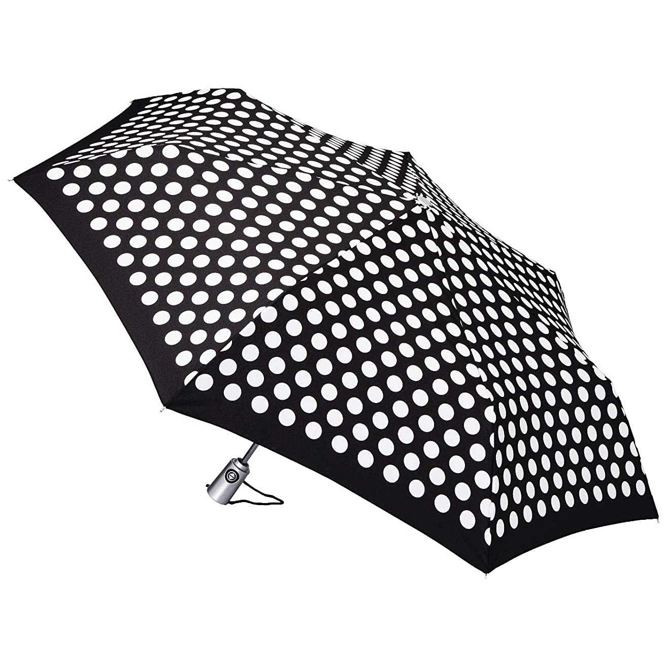 Totes auto open auto close Compact Umbrella With NeverWet Technology Black & White Dots 43