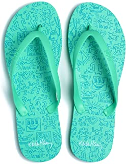 Tidal New York - Comfortable Flip Flop Sandals for Men - Keith Haring - Green - Made in The USA