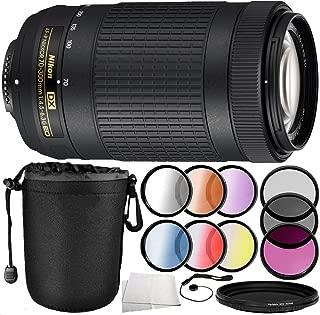 Nikon AF-P DX NIKKOR 70-300mm f/4.5-6.3G ED Lens 10PC Accessory Bundle - Includes 3 Piece Filter Kit (UV + CPL + FLD) + 4PC Macro Filter Set (+1,+2,+4,+10) + More (Renewed)