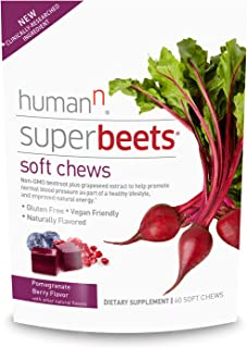 HumanN SuperBeets Soft Chews | #1 Best Seller in Grape Seed Extract and Non-GMO Beet Powder Helps Support Healthy Circulation, Blood Pressure, and Energy. (Pomegranate Berry Flavor, 60-Count, 1-Pack)