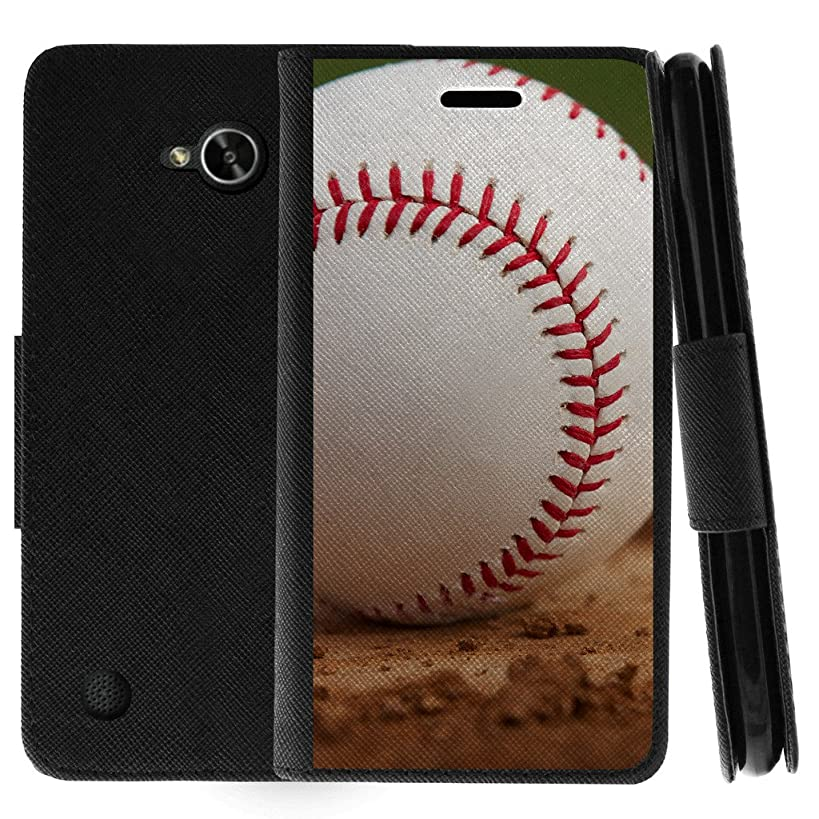 TurtleArmor | Compatible for LG X Power 2 Case | LG Fiesta 2 Case | LG X Charge Case | Flip Kickstand Wallet Case Cover with Card Slots Sports and Games Design - Baseball Dirt