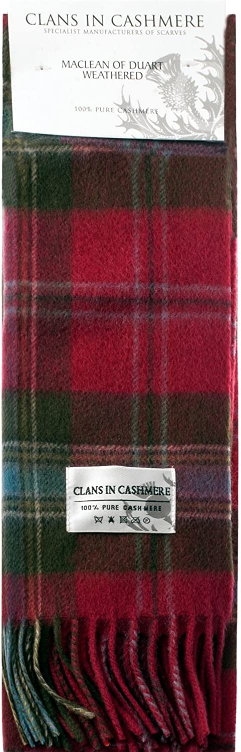 Luxury 100% Cashmere Scottish Clan Scarf MacLean of Duart Weathered