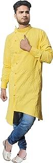 Lakkar Haveli Men's Trail Cut Shirt Yellow Color Kurta Tunic Plus Size